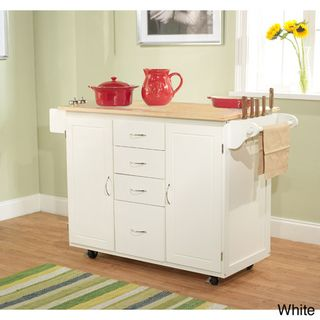 @Overstock - Store your personal kitchen items in this wooden cart. A natural top with a whtie finish completes this stylish cart.   http://www.overstock.com/Home-Garden/Utility-Wood-Top-Kitchen-Cart/6803575/product.html?CID=214117 $227.99