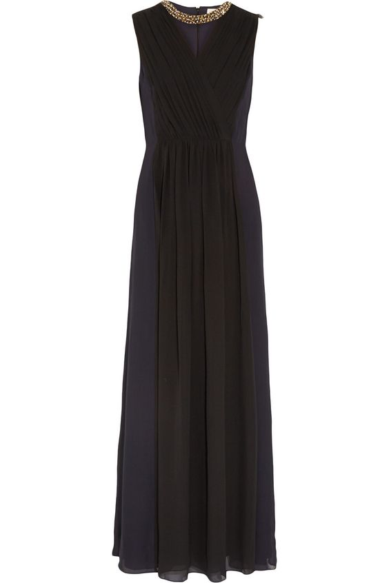 TORY BURCH Meryl Pleated Wrap-Effect Silk-Crepe Gown. #toryburch #cloth #gown