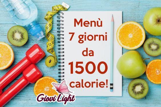 menù dietetico di 1500 calorie vegetariano