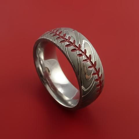 Damascus Steel Baseball Ring with Red Stitching Polish Finish