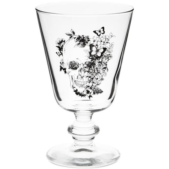 Zara Home Gothic Wine Glass ($3.90) found on Polyvore featuring home, kitchen & dining, drinkware, glass wine glasses, wine glass, butterfly wine glass, gothic wine glasses and skull wine glass