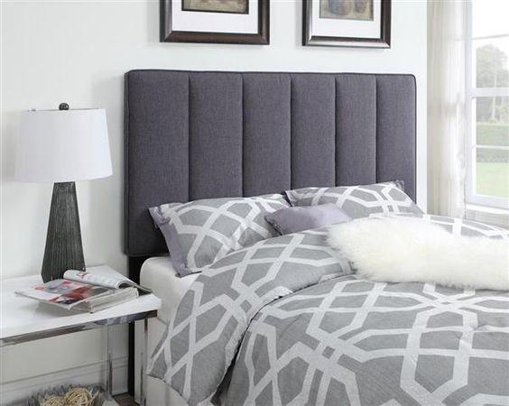 Hayden Grey Wood Fabric Full/Queen Upholstered Headboard-4/6-5/0
