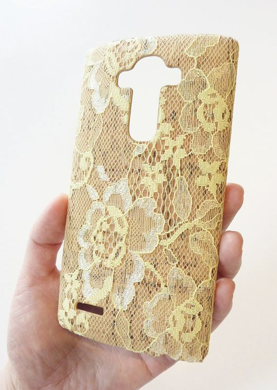 Romance Floral Valentino Inspired For LG G4 H815 Gold Lace Flower Wood Cork Mobile Cellphone Cellular Phone protection Case cover handmade by Yunikuna