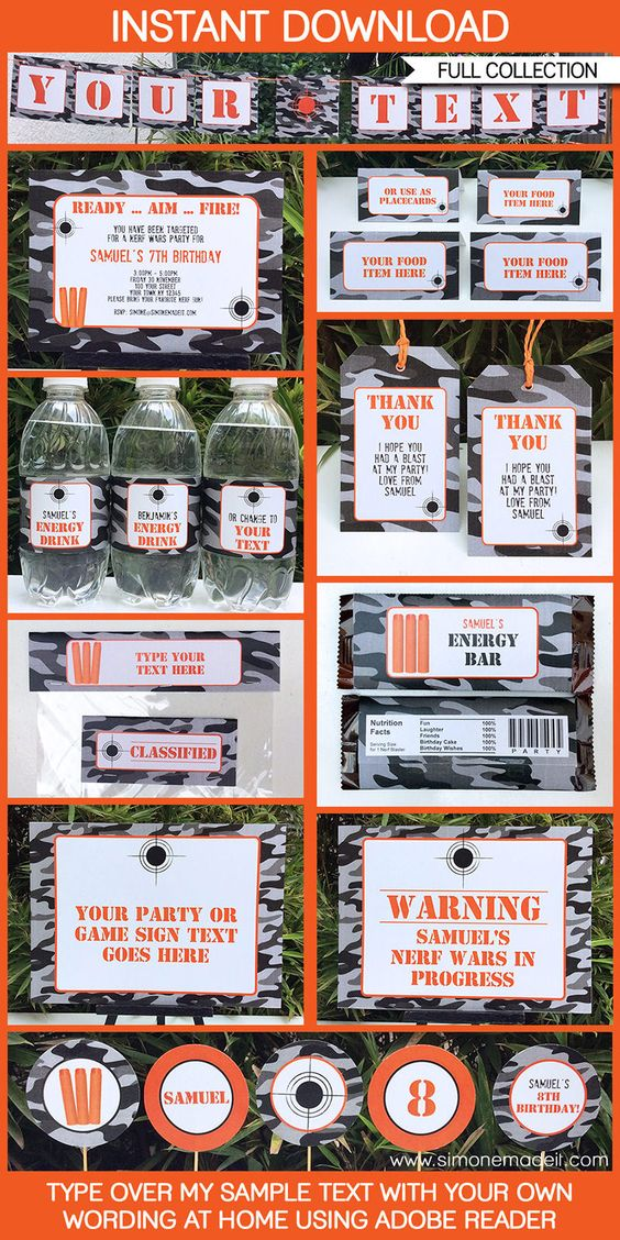 Nerf Party Printables, Invitations & Decorations camo