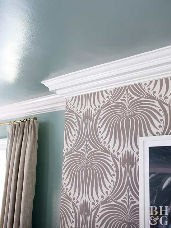 Crown Molding Materials And Installation Can Be Costly Instead Go With Less Expensive How To Install Wallpaper Recycled Plastic Adirondack Chairs Chair Rail
