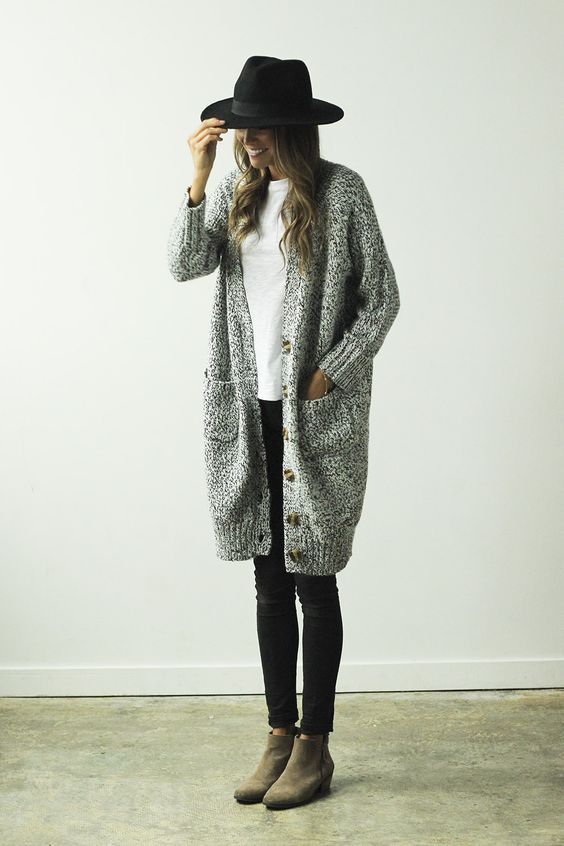 winter outfit, woman outfit, tan boots, black jeans, gray cardigan, black hat