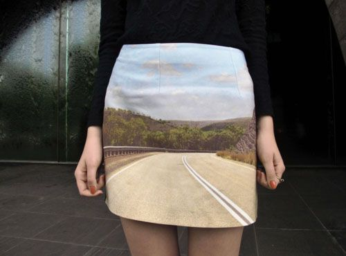 The image is probably photoshopped on the skirt in this photo but I think it's a really neat idea.