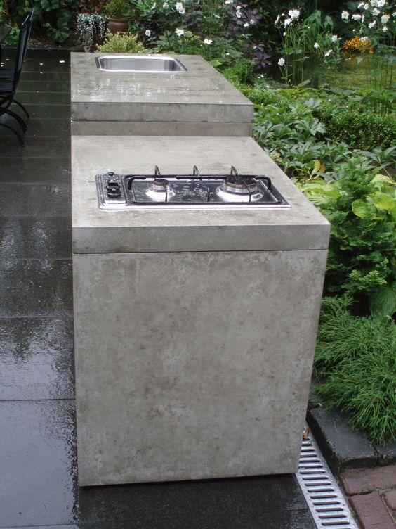 Outdoor kitchen concrete betonnen buitenkeuken outdoors pinterest buitenkeukens - Deco massief buiten ...