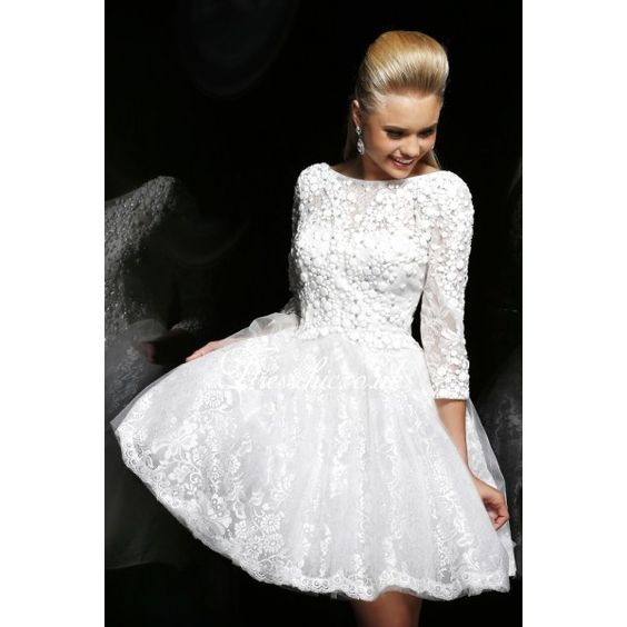 long sleeve lace prom dress  White Lace Long Sleeves Short Prom ...