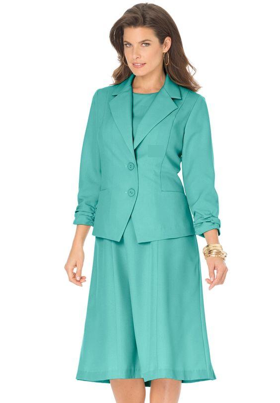 Shirred Jacket Dress   Plus Size Suits   fullbeauty
