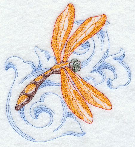Dragonfly 2 with Baroque Background