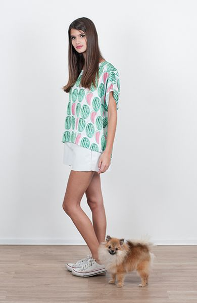 watermelon top and white leather shorts