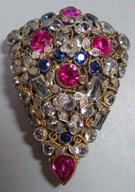 Hobé - Bijoux Vintage - Parure Bracelet 'Tressé' et Broche - Pierres Imitation