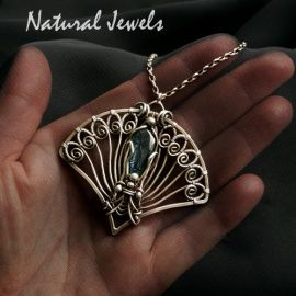 handmade silver pendant with gemstone Kyanite