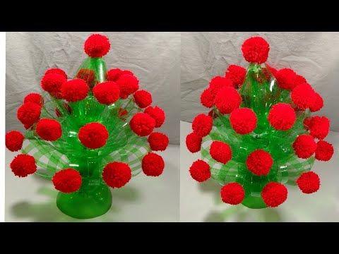 Diy New Design Woolen Guldasta Waste Plastic Bottle Guldasta Plastic Bottle Flower Pot New Craft Pot Youtube In 2020 Plastic Bottle Flowers Crafts New Crafts