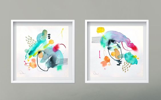 Abstract painting, Diptych Original mixed media painting on hand made paper , minimalist painting Modern Art de VictoriAtelier en Etsy