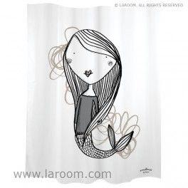 """Laroom - Cortina baño """"sirena"""" blanca  - Laroom diseña los productos para Baño más bonitos del mundo - www.laroom.com (producto diseñado y fabricado por Laroom con ilustración de anna llenas)"""