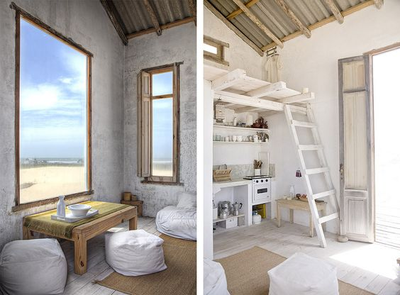 white walls and rustic wood.