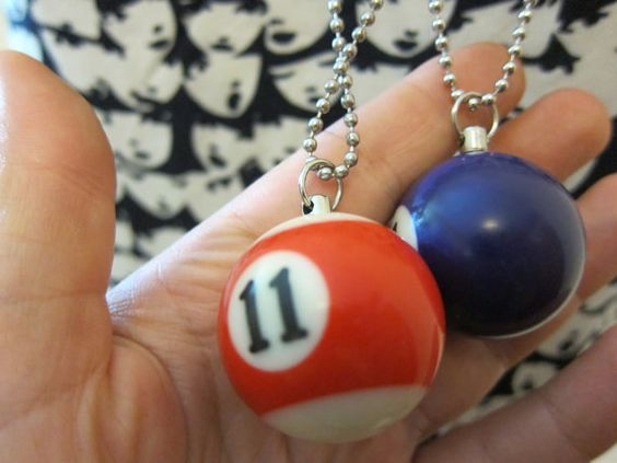 Mod Mini Bullet with Billiard Wings Pool Hall  Bauble Necklace by FrouFrouBijou, $35.00