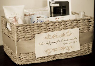 Bathroom baskets for the women 39 s and men 39 s bathroom at for Bathroom basket ideas for wedding
