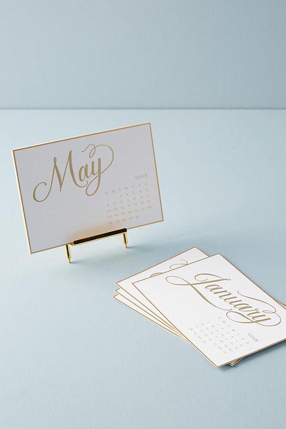 Metallic Gold Desk Calendar