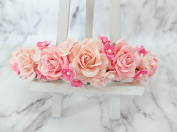 Pink flower crown boho wedding floral hair wreath by musefleur