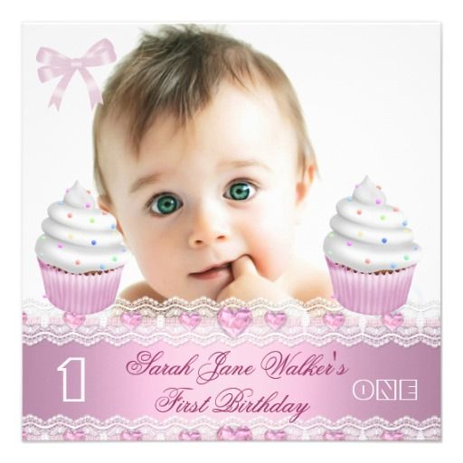 25 best images about Baby 1St Birthday Invitations – Baby Girl First Birthday Party Invitations