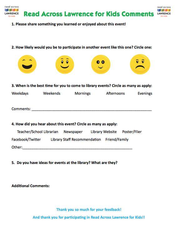 Create Summer Reading Club events feedback sheet  - event feedback form