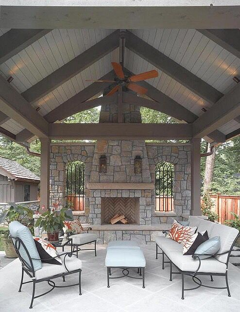 Covered Patio With Pitched Roof And Stone Fireplace