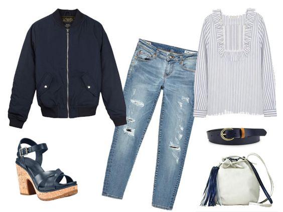 Look con jeans desgastados y bomber