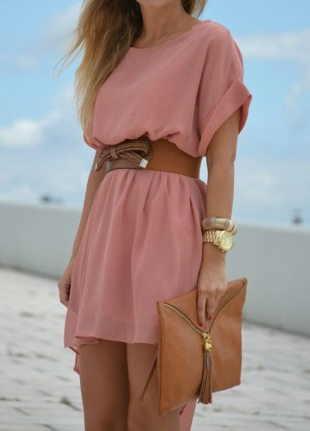 Soft fluttery dress and a belt to hold it all together :)