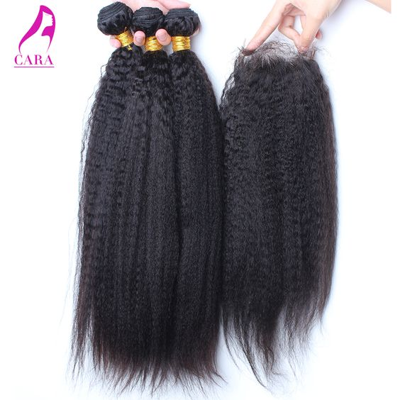 (Buy here: http://appdeal.ru/ru4 ) 6A Malaysian Virgin Hair With Closure Coarse Yaki Hair Bundles With Lace Closure Malaysian Kinky Straight Hair With Closure for just US $154.20
