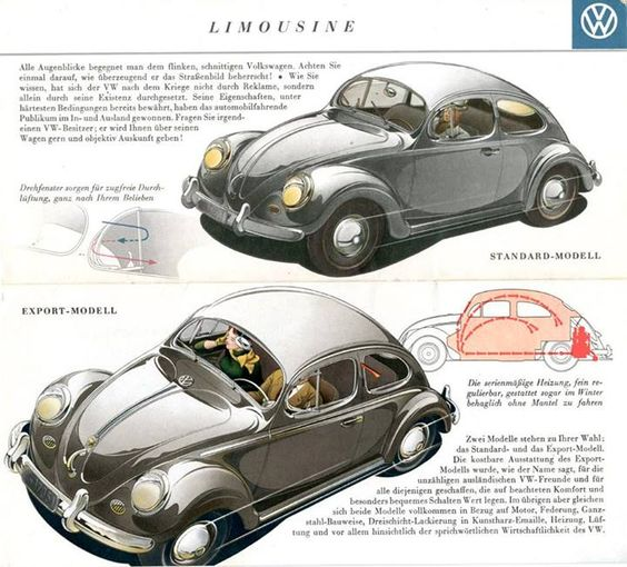 VW Volkswagen Beetle Brochure 1955  ..http://on.fb.me/13SrzJX