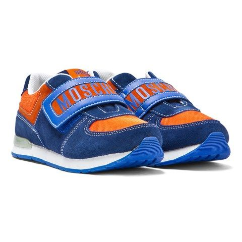 Moschino Navy and Orange Branded Trainers