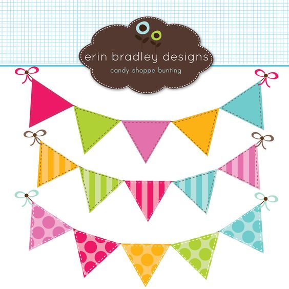 Colorful Bunting Clipart Clip Art Banner Flags for Personal & Commercial Use. $5.00, via Etsy.