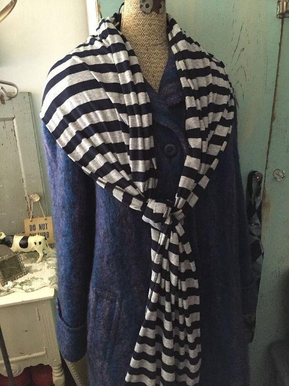 Great Striped Jersey Michael Stars Long Scarf Gray Black Fantastic Condition | eBay