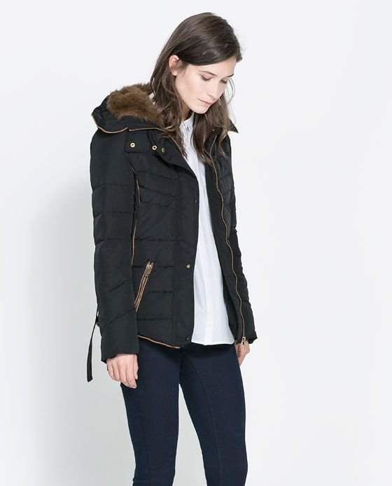 ZARA - WOMAN - SHORT QUILTED JACKET WITH HOOD | winter Coats