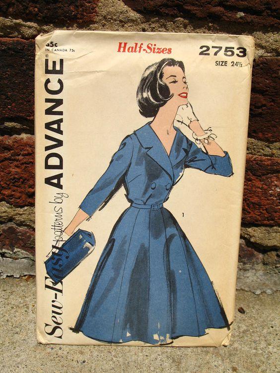 Vintage 50s / Sew Easy / Full Skirt / Coat Dress / Dress Pattern / Advance 2753