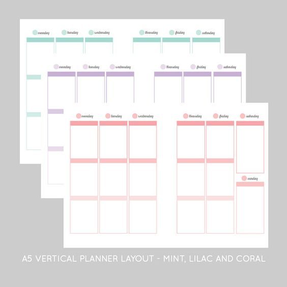 A5 Vertical Colorful Inserts 3 Ombre Printables For A5 Planners Planner Layout Printable