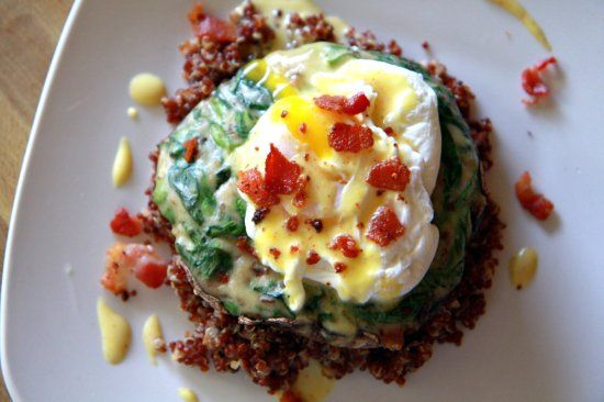 Spinach Stuffed Portabella Mushroom with Egg and Quinoa