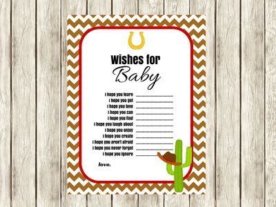 Cowboy Cowgirl Wishes for Baby, Cowgirl Baby Shower activity, Wild West Theme baby shower, Advice for Baby, Printable Wishes for Baby Card