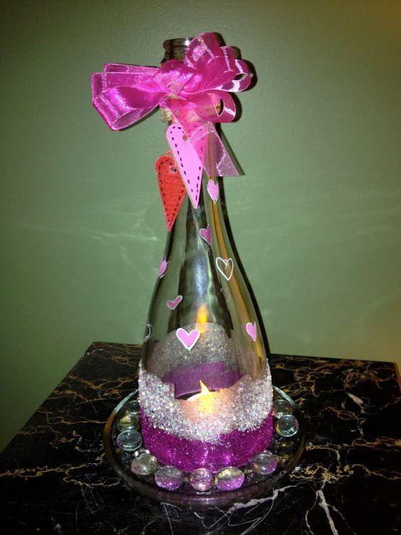 Glittered Hearts Candle Lantern by BakkCoBottlesandCork on Etsy, $20.00