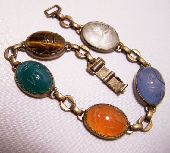Vintage Symmetalic Scarab Bracelet WE Richards by GretelsTreasures, $45.00