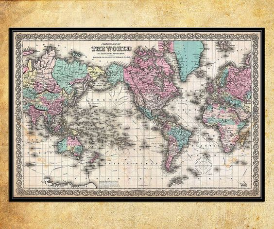 Black Friday SALE - Antique World wall Map by Joseph Hutchins Colton LARGE Archival Fine Art print - 001 on Etsy, $14.00