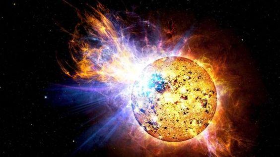 impressie van superflare kunstenaar van rode dwergster