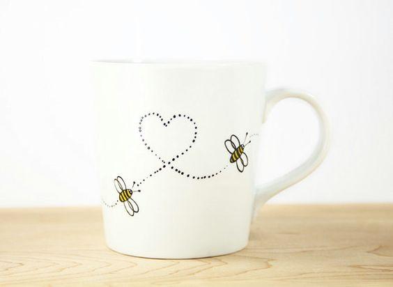 Hand Painted White Ceramic Mug Hello Honey By SylwiaGlassArt