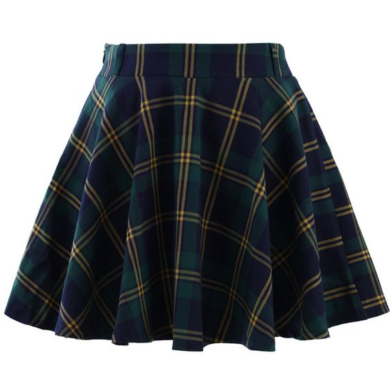 Chicwish Green Plaid Check Skater Skirt (€33) ❤ liked on Polyvore