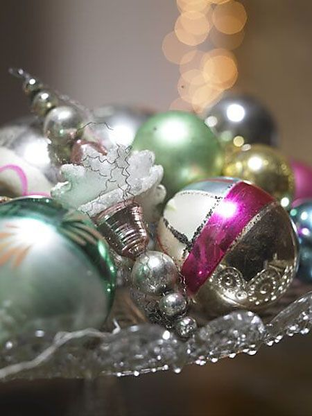 Christmas Baubles in glass dish