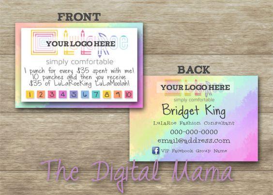 Lularoe customer loyalty card lularoe customer punch for Lularoe business card ideas