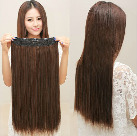 5 clipes em Extensões de Cabelo de boa qualidade marrom preto sintético extensão do cabelo 1 peça Barata populares menina mulheres de cabelo em linha reta pad